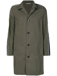 Valentino Single Breasted Coat Polyester Cotton Green
