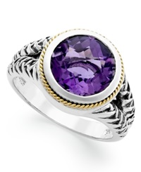 Effy Collection Balissima By Effy Amethyst Round Ring 3 3 8 Ct T.W. In 18K Gold And Sterling Silver