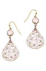 Nakamol Design Tiny Wire Beaded Earrings Pearl Gold
