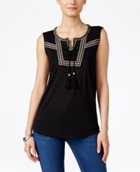 Styleandco. Style Co. Plus Size Sleeveless Peasant Blouse Only At Macy's Deep Black