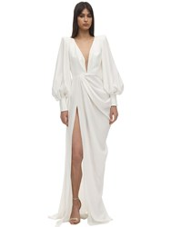 Alex Perry Pleated Satin Crepe Long Dress White