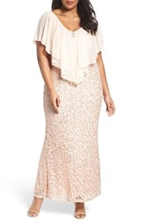 Marina Plus Size Women's Chiffon Capelet Sequin Lace Gown Peach