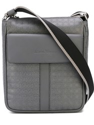 Salvatore Ferragamo Gancio Embossed Messenger Bag Grey