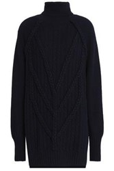 Belstaff Cable Knit Wool And Cashmere Blend Turtleneck Mini Dress Midnight Blue