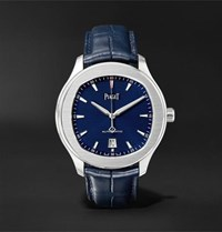 Piaget Polo S 42Mm Stainless Steel And Alligator Watch Blue