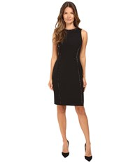 Versace Crew Neck Sleeveless Sheath With Color Studs Black