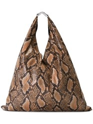Maison Martin Margiela Mm6 Snakeskin Effect Tote Bag Brown