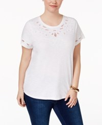 Charter Club Plus Size Cotton Embroidered T Shirt Only At Macy's Bright White