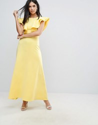 Club L Scuba Maxi Dress With Ruffle Detail Yellow