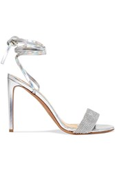 Alexandre Vauthier Kim Swarovski Crystal Embellished Iridescent Leather Sandals Silver