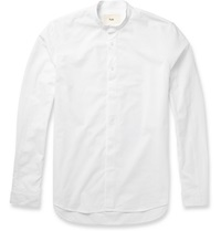 Folk Grandad Collar Cotton Oxford Shirt White