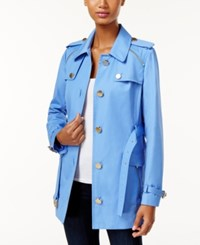 Michael Kors Zipper Trim Trench Coat Oxford Blue