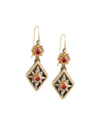 Konstantino Color Classics Pink Tourmaline Floral Drop Earrings Green