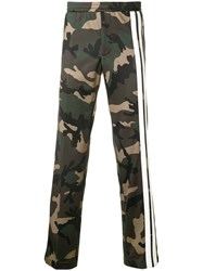 Valentino Camouflage Track Pants With Contrasting Side Bands Green