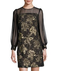 Julia Jordan Long Sleeve Lace Overlay Dress Black Gold