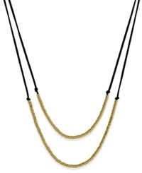 Inc International Concepts Gold Tone Imitation Suede Double Row Necklace Only At Macy's Black