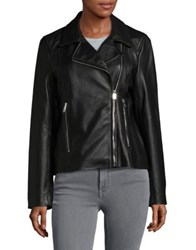 Lauren Ralph Lauren Asymmetrical Leather Moto Jacket Black