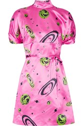 Miu Miu Printed Silk Satin Mini Dress Pink