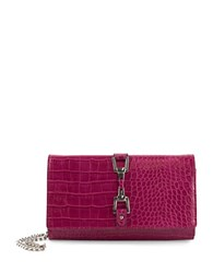 Sam Edelman Croc Embossed Convertible Chainlink Wallet Fuschia
