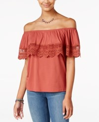 One Hart Juniors' Off The Shoulder Popover Top Only At Macy's Rustic Rouge