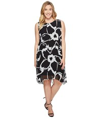 Vince Camuto Specialty Size Plus Sleeveless Cut Out Floral Chiffon Overlay Dress Rich Black Women's Dress