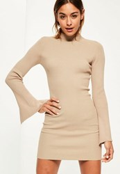 Missguided Camel Extreme Sleeve Mini Knitted Jumper Dress