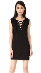 Pam And Gela Hooded Lace Up Dress Black