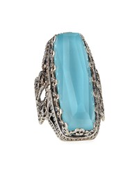 Faceted Turquoise And Rock Crystal Doublet Ring Konstantino