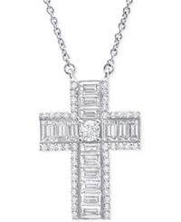 Crislu Platinum Over Sterling Silver Cubic Zirconia Thick Cross Pendant Necklace Crystal Cz