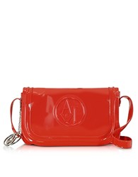 Armani Jeans Patent Eco Leather Shoulder Bag Red