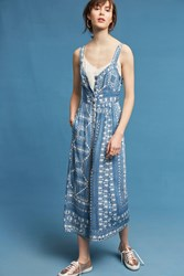 Anthropologie Geometric Squares Jumpsuit Blue