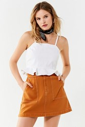 Urban Outfitters Uo Carpenter A Line Mini Skirt Light Brown
