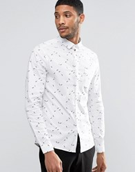 Asos Skinny Shirt With Geo Ditsy Print With Long Sleeves In White White