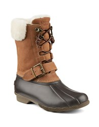 Sperry Saltwater Misty Thinsulate Sheep Fur Leather Blend Winter Boots Brown