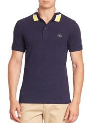 Lacoste Contrast Collar Slim Fit Polo Shirt Navy Blue Bright Cherry Red