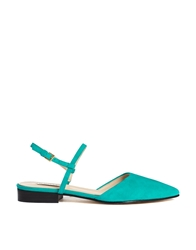 Whistles Lorna Flat Pointed Marine Green Slingback Shoes Marinegreen