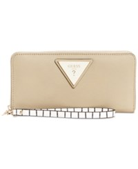 Guess Jade Large Zip Around Wallet Sand Gold