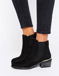 New Look Western Suedette Metal Clip Ankle Boot Black