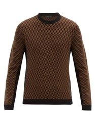 Prada Geometric Patterned Wool Blend Sweater Black Brown