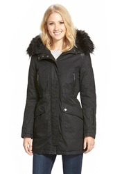 French Connection Waxed Cotton Parka With Faux Leather And Faux Fur Trim Black