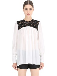 Nena Ristich Embellished Silk And Tulle Shirt