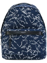 Michael Kors Grant Palm Print Backpack Men Cotton Nylon One Size Blue