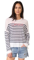 Sundry Amour Sweater White Navy Stripe