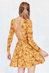 Kimchi And Blue Katryna Floral Lace Up Back Mini Dress Yellow