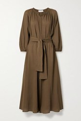 Apiece Apart Isla Cropped Belted Cotton Gauze Jumpsuit Brown