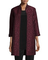 Caroline Rose Floating Leaves Jacquard Opera Coat Bordeaux Black