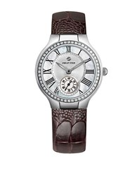 Philip Stein Teslar Ladies Silvertone Diamond And Leather Chronograph Watch Brown