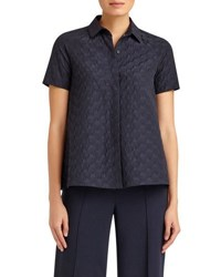 Lafayette 148 New York Ingrid Short Sleeve Button Front Blouse Navy