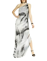 Halston Abstract Print Chiffon One Shoulder Dress Black Abstract