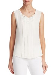 Edward Achour Pleated Sleeveless Blouse White Black